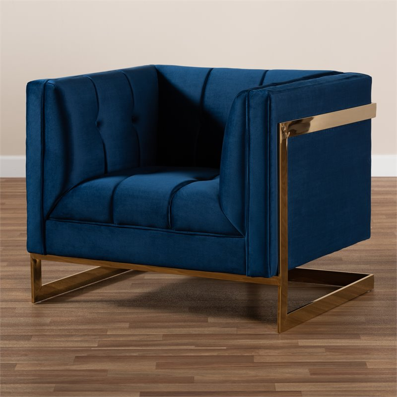 Baxton Studio Ambra Velvet Fabric with Gold Finish Accent Chair in Royal Blue