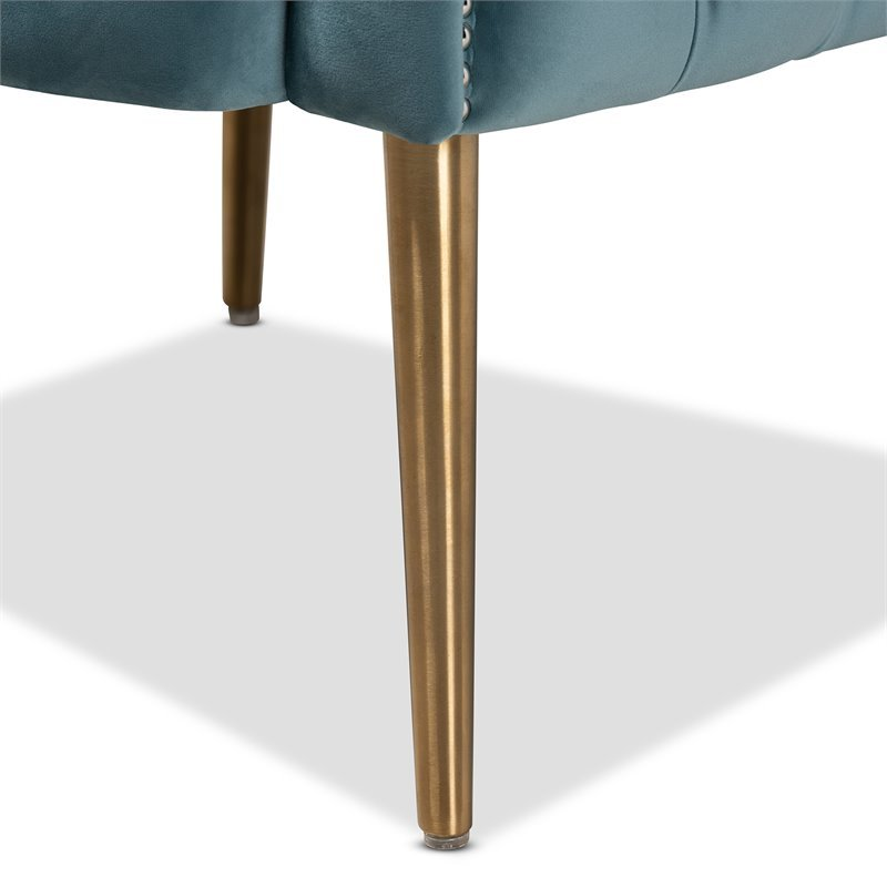 Baxton Studio Marcelle Light Blue Velvet  Accent Chair