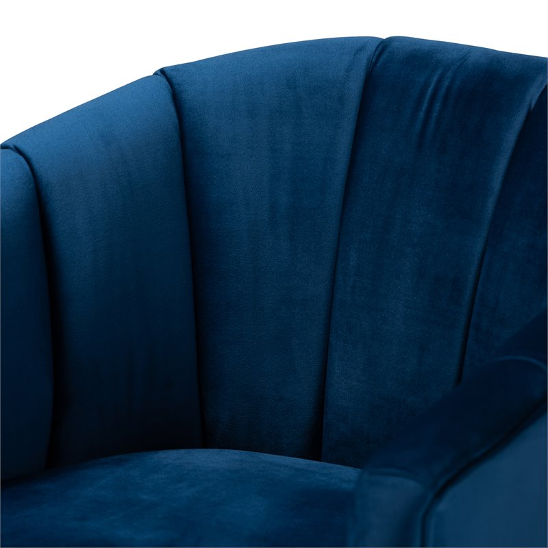 Baxton Studio Clarisse Navy Blue Velvet Gold Finished Accent Chair