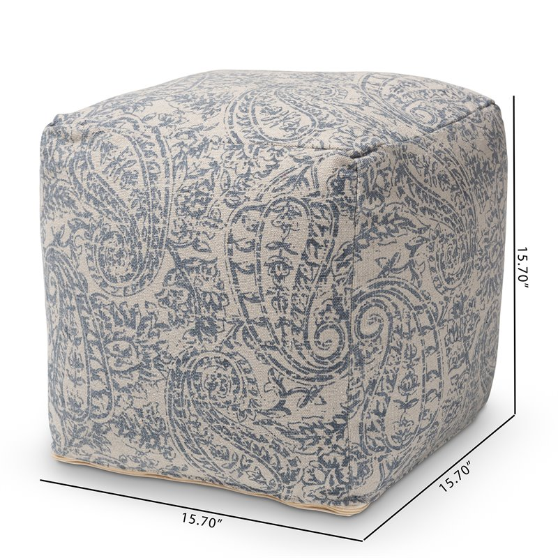Baxton Studio Juvita Grey and Blue Handwoven Cotton Paisley Pouf Ottoman