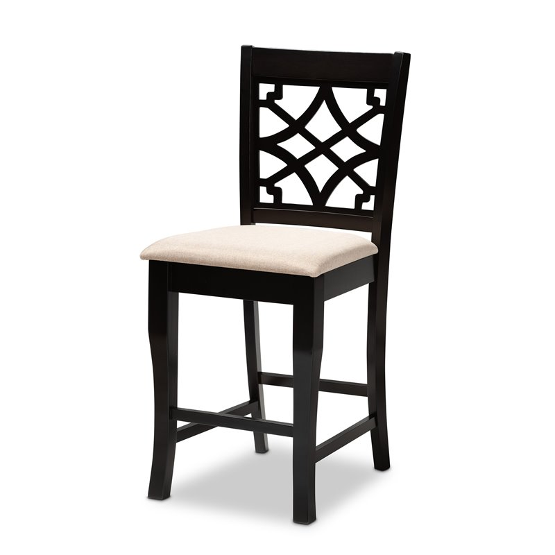 Baxton Studio Nisa Sand Upholstered Espresso Wood 5-Piece Pub Set