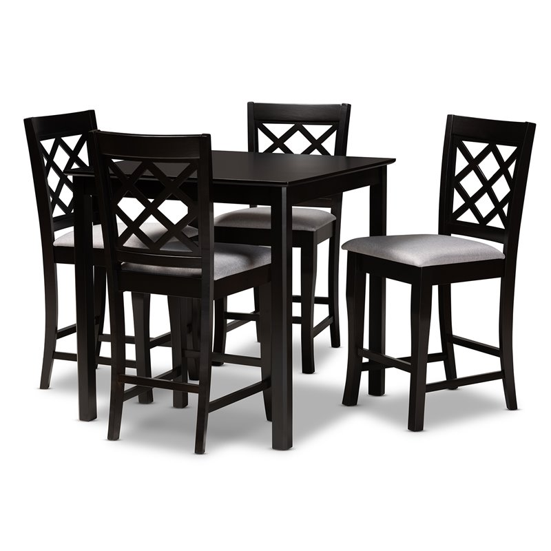 Baxton Studio Alora Grey Upholstered Espresso Wood 5-Piece Pub Set