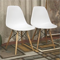 Baxton Studio Azzo Accent Chair in White (Set of 2)