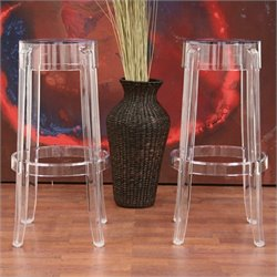 Baxton Studio Bettino Barstool in Clear (Set of 2)