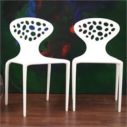 Baxton Studio Durante Accent Chair in White (Set of 2)