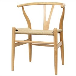 Baxton Studio Wishbone Y Dining Chair in Natural (Set of 2)