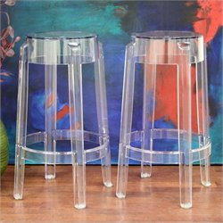 Baxton Studio Bettino Counter Stool in Clear (Set of 2)