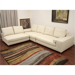 Baxton Studio Pegeen 3 Piece Modular Sectional Sofa in Cream