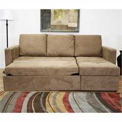 Baxton Studio Linden Convertible Sectional Sofa in Tan