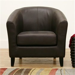 Baxton Studio Leather Club Barrel Chair in Brown