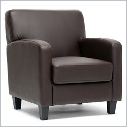 Baxton Studio Faux Leather Club Arm Chair in Brown