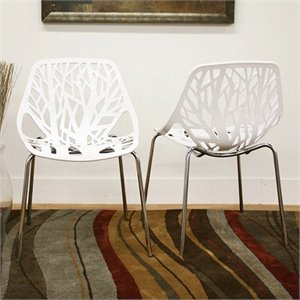 Accent Dining Chair in White (Set of 2)