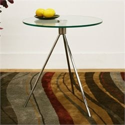 Baxton Studio Triplet End Table in Clear and Brushed Nickel