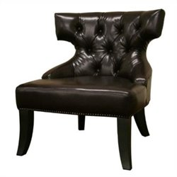 Baxton Studio Leather Tufted Lounge Chair in Brown