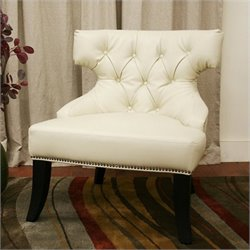 Leather Tufted Lounge Chair in white