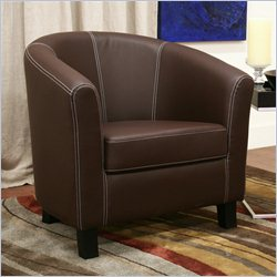 Baxton Studio Faux Leather Barrel Club Chair in Brown
