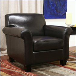 Baxton Studio Club Upholstered Arm Chair in Brown