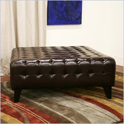 Baxton Studio Pemberly Square Ottoman in Dark Brown