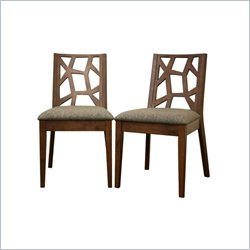 Baxton Studio Jenifer Dining Chair in Brown (Set of 2)
