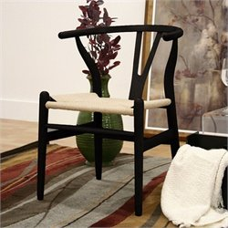 Baxton Studio Wishbone Y Dining Chair in Black (Set of 2)