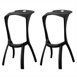 Baxton Studio Zinley Bar Stool in Black (Set of 2)