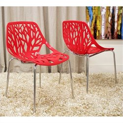 Birch Sapling Dining Chair in Red (Set of 2)