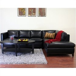 Baxton Studio Rohn Sectional Sofa in Black