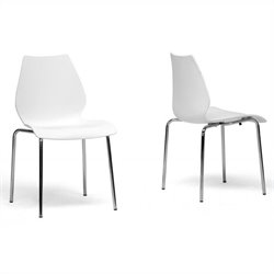 Baxton Studio Overlea Dining Chair in White (Set of 2)