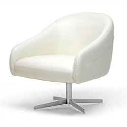 Baxton Studio Balmorale Leather Arm Barrel Chair in Ivory