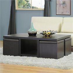 Baxton Studio Prescott Table and Stool Set with Hidden Storage in Dark Brown