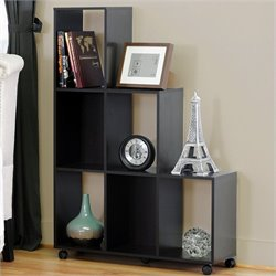 Baxton Studio Hexham Rolling Display Shelving Unit in Dark Brown