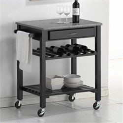 Baxton Studio Quebec Wheeled Kitchen Cart in Gray