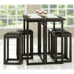 Baxton Studio Leeds Collapsible Pub Table Set in Dark Brown
