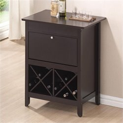 Baxton Studio Tuscany Dry Home Bar and Wine Cabinet in Dark Brown