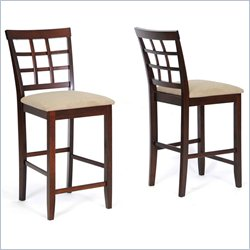 Baxton Studio Katelyn Counter Stool in Cappuccino and Brown(Set of 2)
