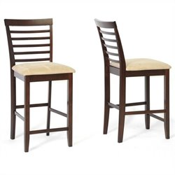 Baxton Studio Kelsey Counter Stool in Cappuccino and Brown (Set of 2)