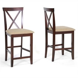 Baxton Studio Natalie Counter Stool in Cappuccino and Brown(Set of 2)