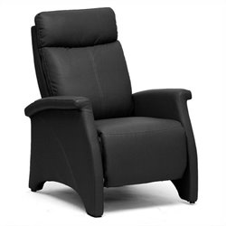 Baxton Studio Sequim Faux Leather Recliner Club Chair in Black