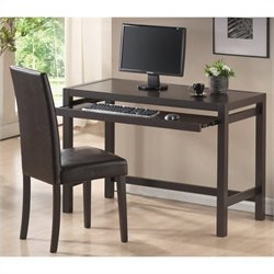 Baxton Studio Astoria Desk and Chair Set in Dark Brown
