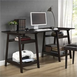 Mott Desk with Large Sawhorse Legs in Dark Brown