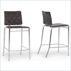 Baxton Studio Vittoria Counter Stool in Brown (Set of 2)
