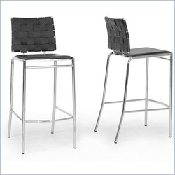 Baxton Studio Vittoria Bar Stool in Black (Set of 2)