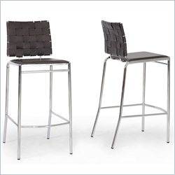 Baxton Studio Vittoria Bar Stool in Brown (Set of 2)