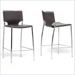 Baxton Studio Montclare Counter Stool in Brown (Set of 2)
