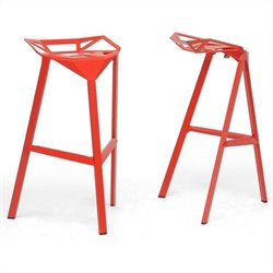 Baxton Studio Kaysa Bar Stool in Red (Set of 2)