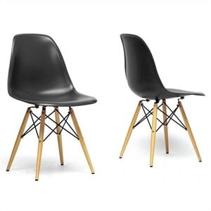 Azzo Shell Dining Chair in Black (Set of 2)