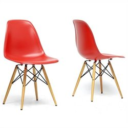 Baxton Studio Azzo Shell Dining Chair in Red (Set of 2)