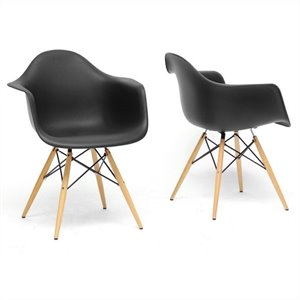 Pascal Shell Dining Chair in Black (Set of 2)