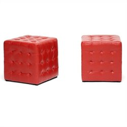 Baxton Studio Siskal Cube Ottoman in Red (Set of 2)