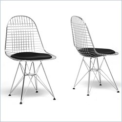 Baxton Studio Avery Wire Dining Chair in Black (Set of 2)